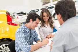 Couple buying a car or truck