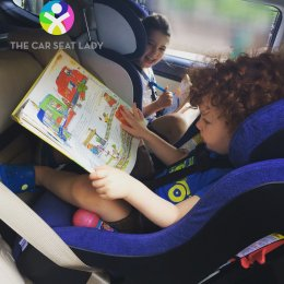 The Car Seat Lady children - 6y and 3y in Clek Foonf (forward and rear-facing)